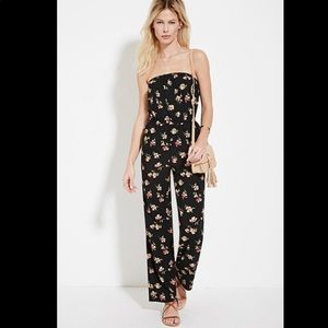 Black Strapless Floral Print Jumpsuit